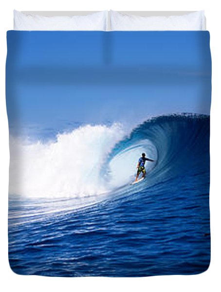 Surfer In The Sea, Tahiti, French Duvet Cover by Panoramic Images