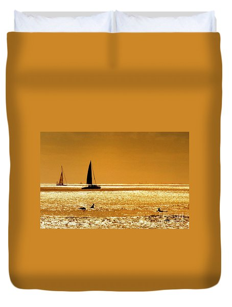 Surfers And Sailboats Duvet Cover