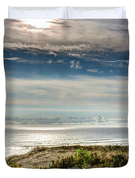 Surfers At Coast Guard Beach Duvet Cover