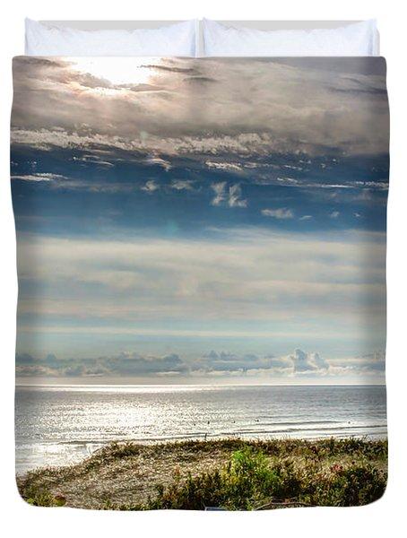 Surfers At Coast Guard Beach Duvet Cover