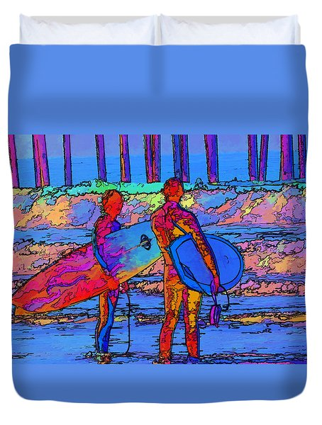 Duvet Cover featuring the photograph Surfers by Kathy Churchman