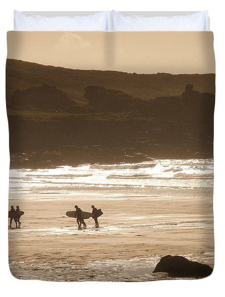 Surfers On Beach 02 Duvet Cover by Pixel Chimp