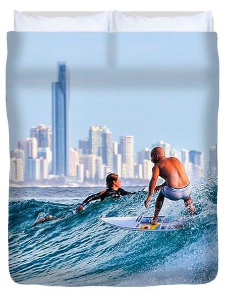 Surfing Burleigh Duvet Cover