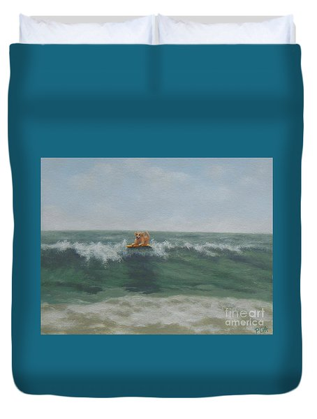 Surfing Golden Duvet Cover