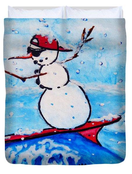 Surfing Snowman Duvet Cover