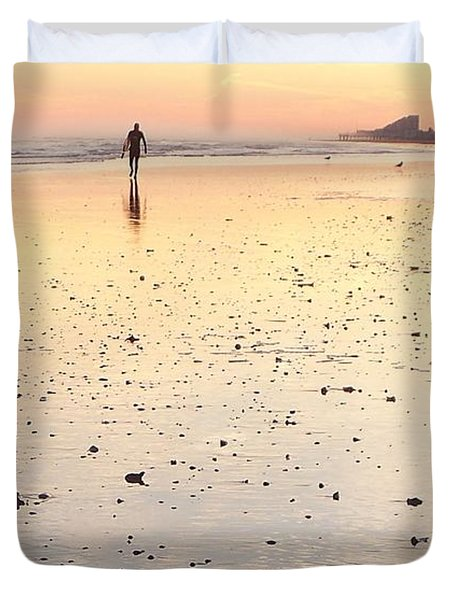Surfing Sunset Duvet Cover by Eric  Schiabor