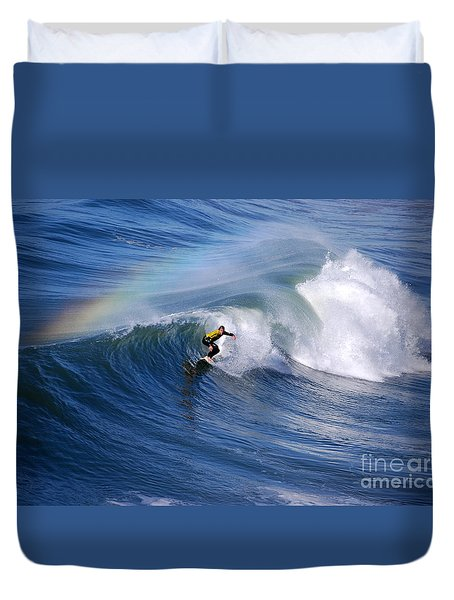 Surfing Under A Rainbow Duvet Cover by Catherine Sherman