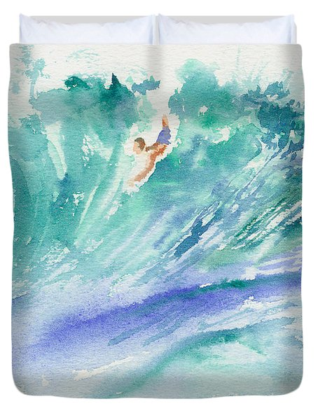 Duvet Cover featuring the painting Surf's Up by Lynn Buettner