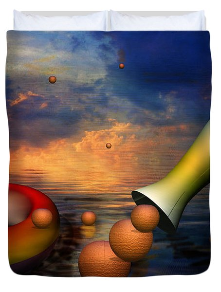 Surreal Dinner Served Over The Ocean Duvet Cover by Angela A Stanton