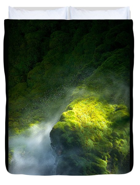Surrounded By Mist   Vertical Duvet Cover by Mary Lee Dereske