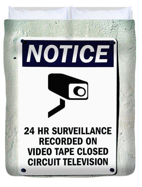 Surveillance Sign On Concrete Wall Duvet Cover