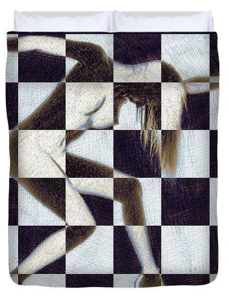 Survive Nude Woman Checkered 2 Duvet Cover by Tony Rubino