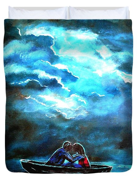 Surviving The Storm Duvet Cover by Leslie Allen