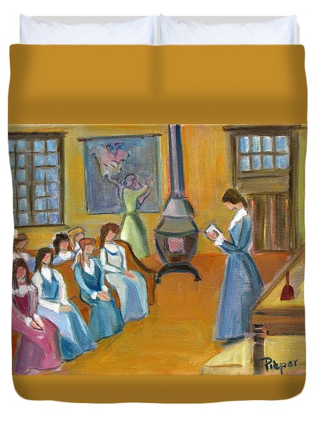 Susan B. Anthony Teaching In Canajoharie Duvet Cover by Betty Pieper