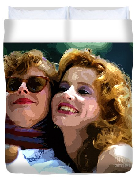 Susan Sarandon And Geena Davies Alias Thelma And Louis - Watercolor Duvet Cover