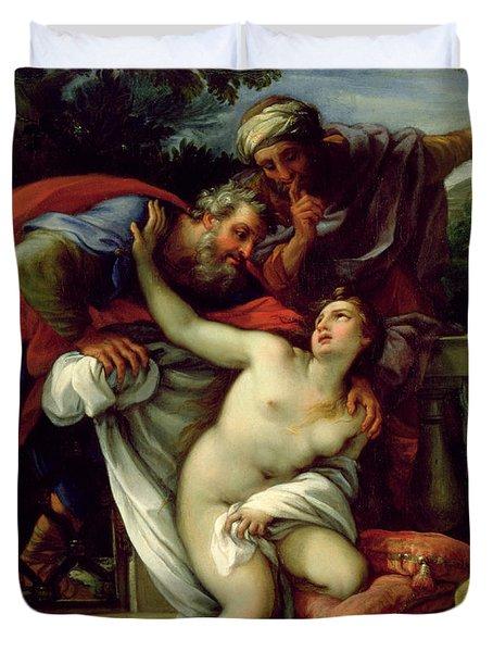Susanna And The Elders Duvet Cover by Giuseppe Bartolomeo Chiari