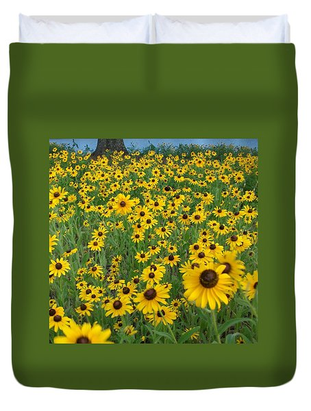Susans In The Wind Duvet Cover by Elizabeth Sullivan