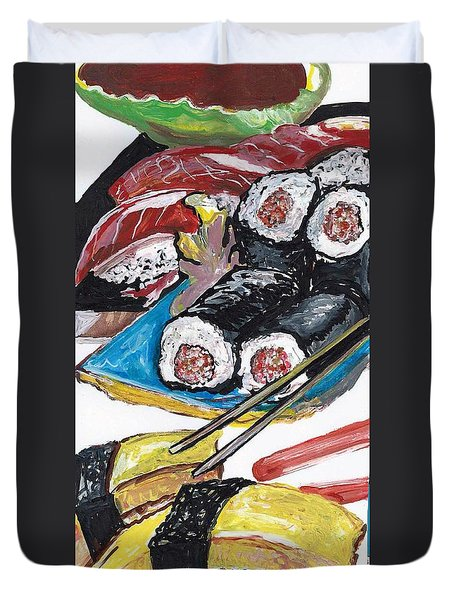 Duvet Cover featuring the painting Sushi Bar Painting by Ecinja Art Works