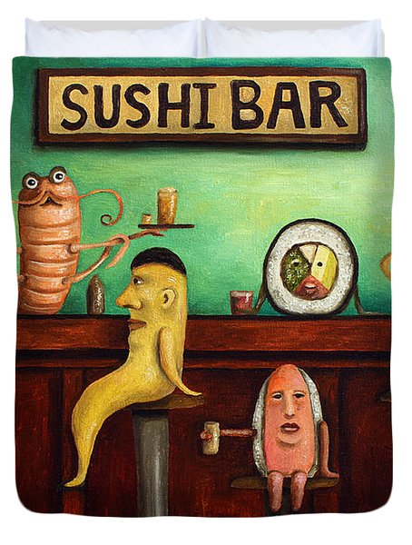 Sushi Bar Improved Image Duvet Cover by Leah Saulnier The Painting Maniac