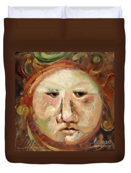 Suspicious Moonface Duvet Cover