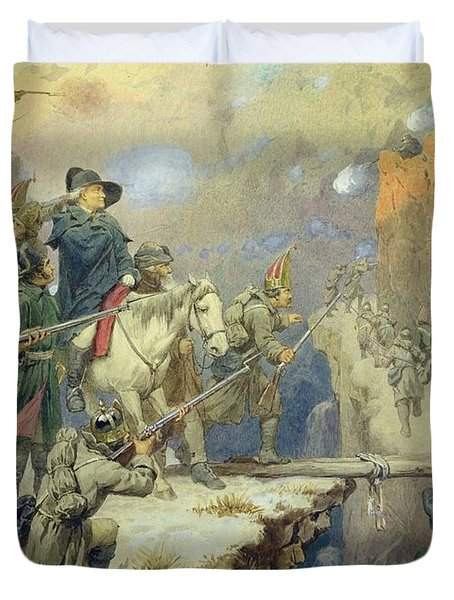 Suvorov Crossing The Devils Bridge In 1799, 1880 Wc On Paper Duvet Cover