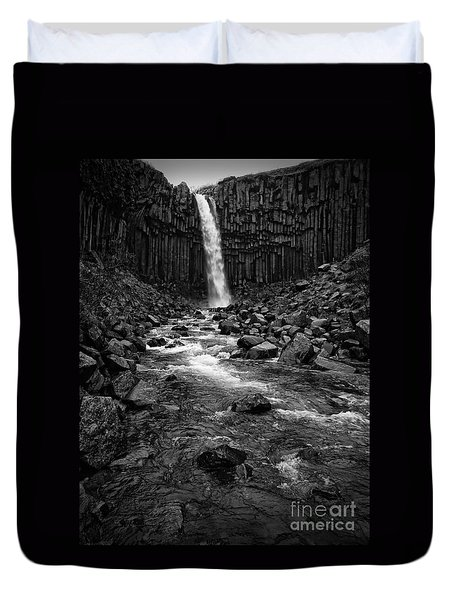Svartifoss Waterfall In Black And White Duvet Cover