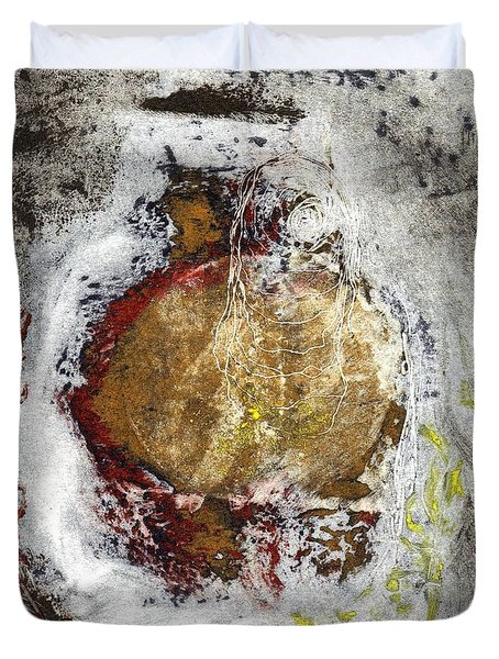 Duvet Cover featuring the painting Swallowed by Lesley Fletcher