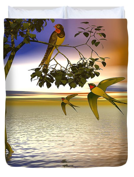 Duvet Cover featuring the digital art Swallows At Sunset by Sandra Bauser Digital Art