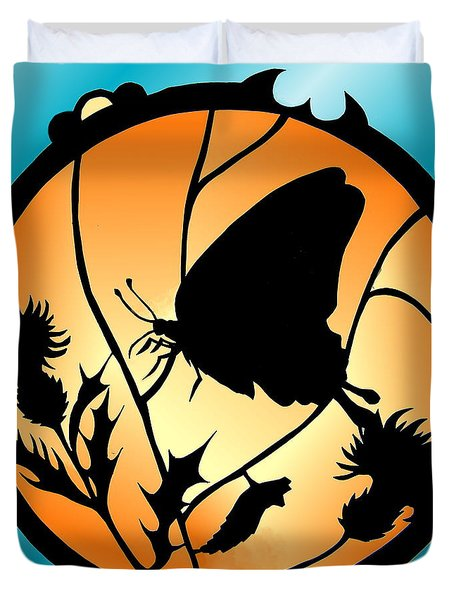 Swallowtail Butterfly Stained Glass Duvet Cover
