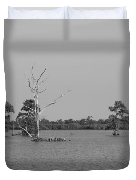 Duvet Cover featuring the photograph Swamp Cypress Trees Black And White by Joseph Baril