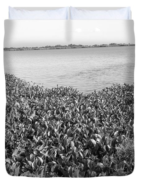 Duvet Cover featuring the photograph Swamp Hyacinths Water Lillies Black And White by Joseph Baril
