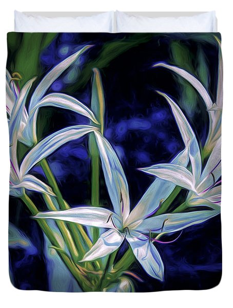 Duvet Cover featuring the photograph Swamp Lilies by Steven Sparks