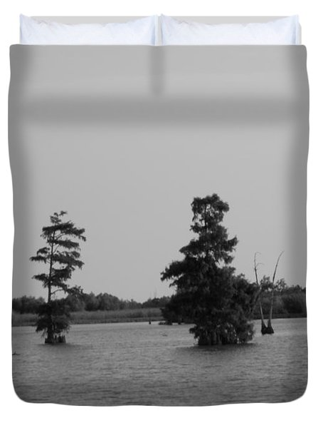 Duvet Cover featuring the photograph Swamp Tall Cypress Trees Black And White by Joseph Baril