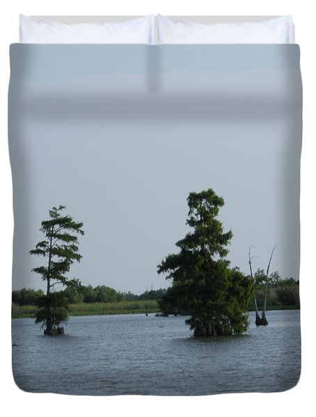 Duvet Cover featuring the photograph Swamp Tall Cypress Trees  by Joseph Baril