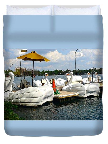 Swan Boats On Lake Eola Duvet Cover