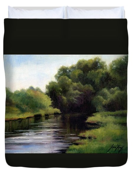 Duvet Cover featuring the painting Swan Creek by Janet King