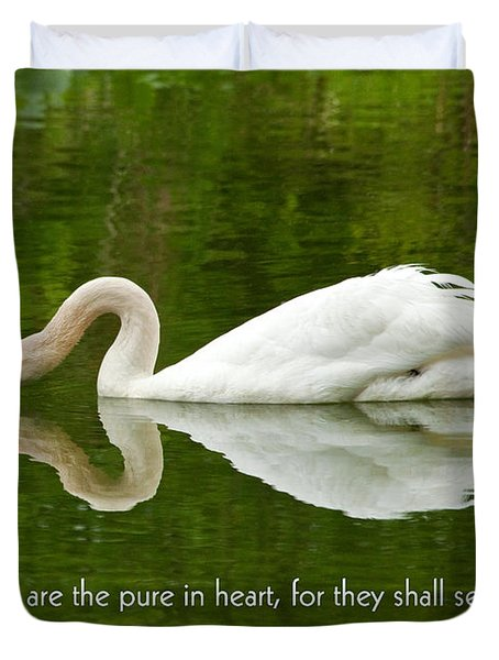 Swan Heart Bible Verse Greeting Card Original Fine Art Photograph Print As A Gift Duvet Cover by Jerry Cowart