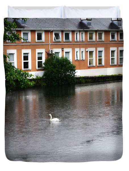 Swan In Dublin Duvet Cover