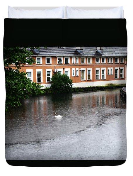 Swan In Dublin Duvet Cover