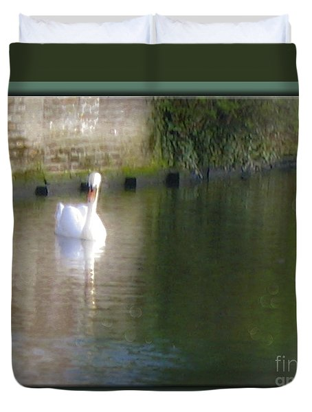 Duvet Cover featuring the photograph Swan In The Canal by Victoria Harrington