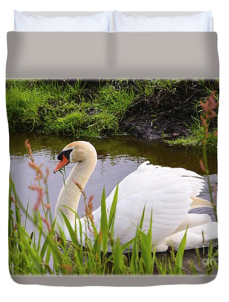 Swan In Water In Autumn Duvet Cover