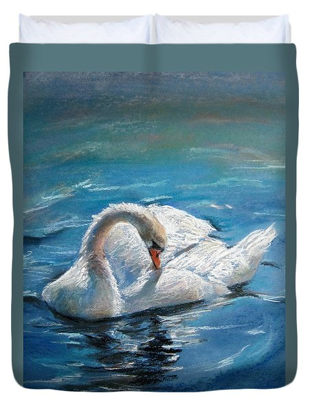 Duvet Cover featuring the painting Swan by Jieming Wang