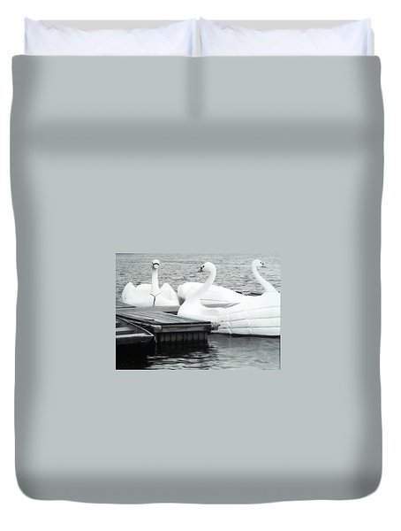 Duvet Cover featuring the photograph White Swan Lake by Belinda Lee