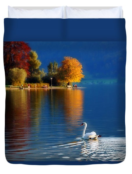 Beautiful Autumn Swan At Lake Schiliersee Germany  Duvet Cover