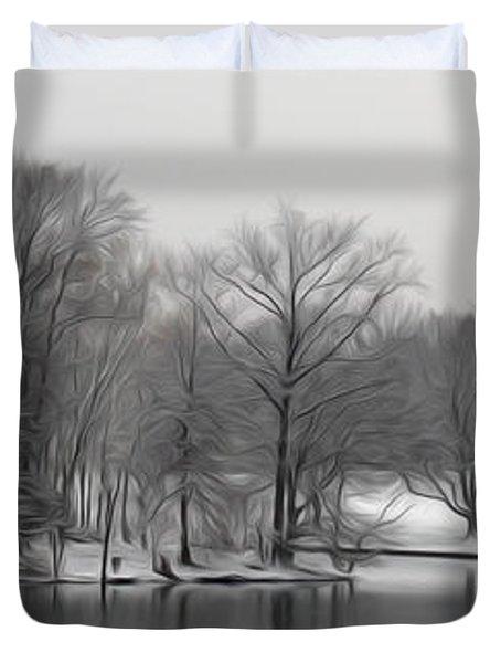Duvet Cover featuring the digital art Swan Lake by Kelvin Booker