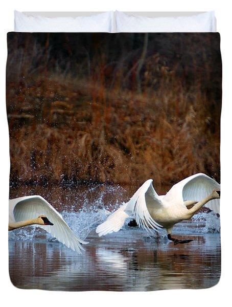 Swan Lake Duvet Cover by Mike  Dawson