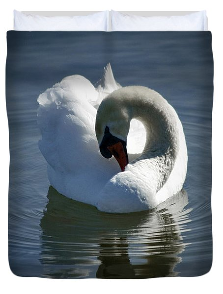 Duvet Cover featuring the photograph Swan Lake by Pennie  McCracken