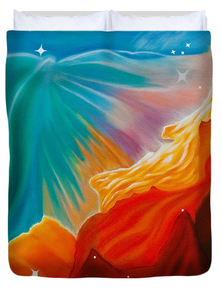 Duvet Cover featuring the painting Swan Nebula by Barbara McMahon