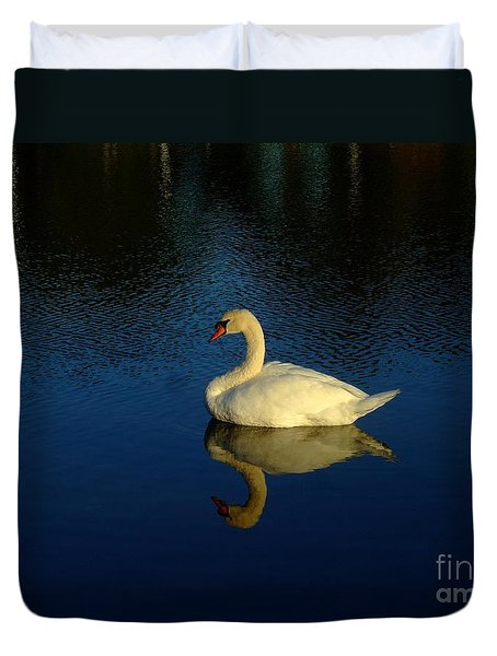 Swan Reflection Duvet Cover by Bob Sample