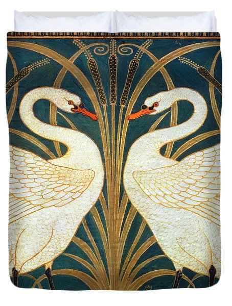 Swan Rush And Iris Duvet Cover by Walter Crane